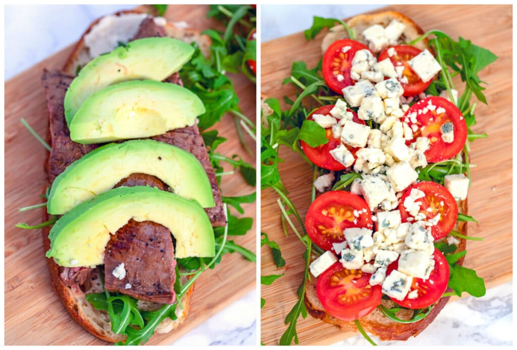 One photo showing bread with arugula, flank steak, and avocado and one showing bread with arugula, tomatoes, and gorgonzola