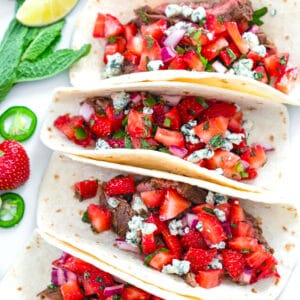 Flank Steak Tacos with Strawberry Mint Salsa