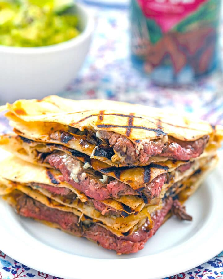 Flank Steak and Gorgonzola Quesadillas -- These Flank Steak Quesadillas with Gorgonzola are a major upgrade to quesadillas and incredibly easy to make for a simple weeknight dinner | wearenotmartha.com