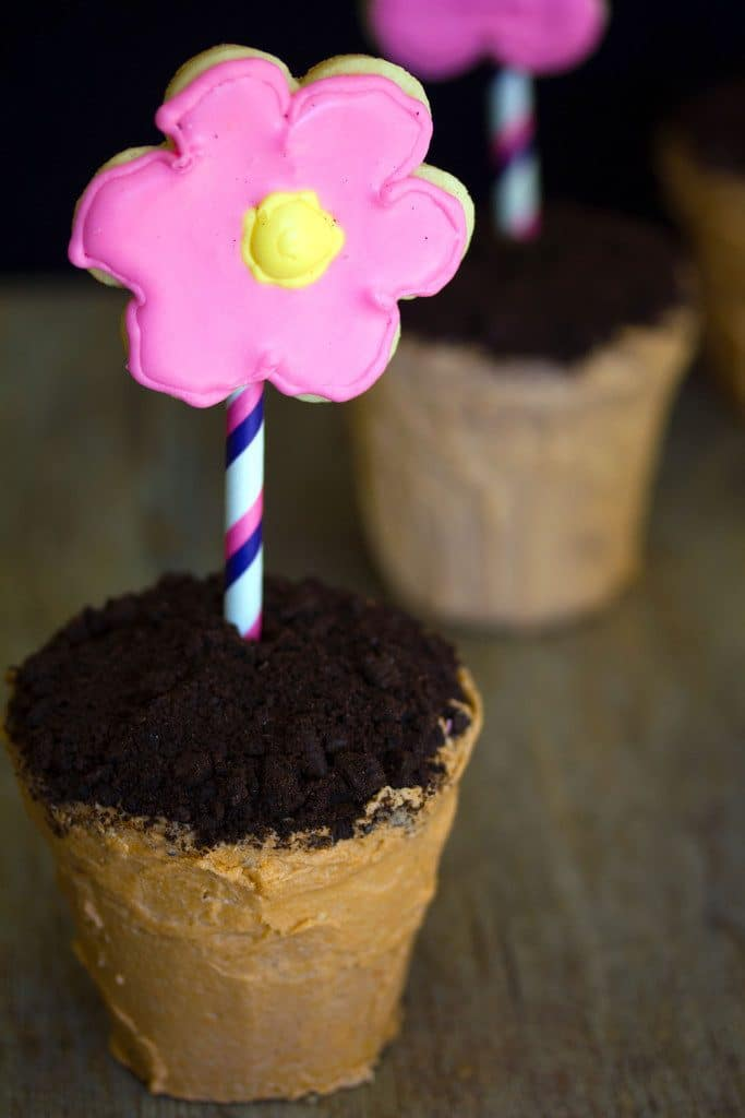 Closeup of flower pot cakes with chocolate cookie dirt and pink and yellow sugar cookie flowers