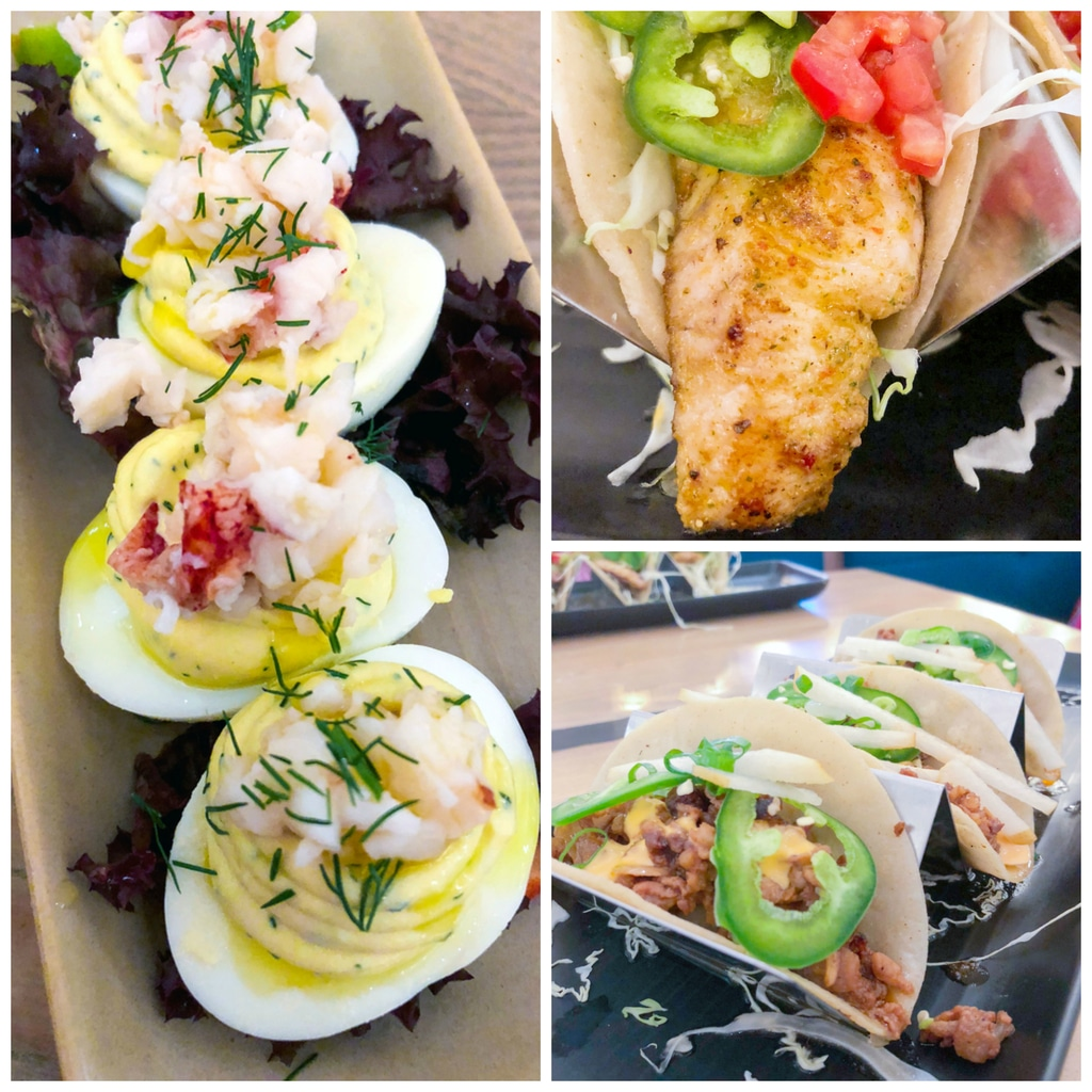 Lobster deviled eggs, fish tacos, and bulgogi pork tacos at Monkeypod Kitchen in Maui