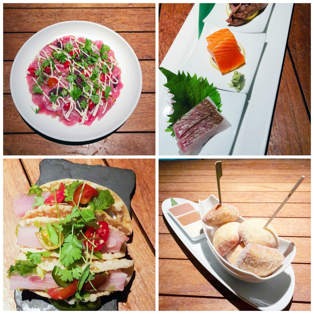 Collage showing tuna pizza, hamachi tacos, sashimi, and donuts at Morimoto Maui
