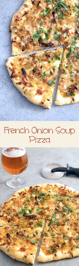 French Onion Soup Pizza -- If you're craving a big bowl of french onion soup, try it in pizza form instead! This pizza takes all the elements of the classic soup and turns it into a meal | wearenotmartha.com