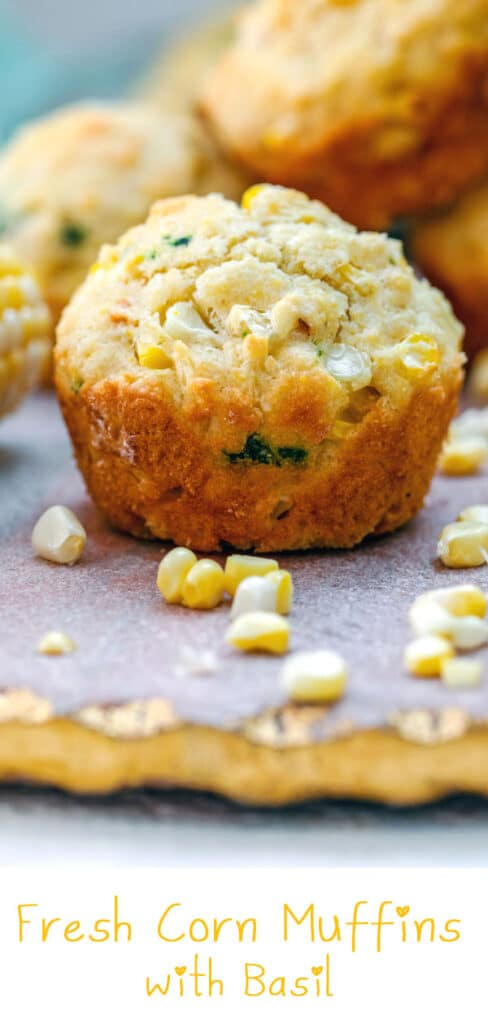 Fresh Corn Muffins with Basil -- Raise your hand if you think corn muffins should have actual fresh corn in them. These Fresh Corn Muffins with Basil are packed with one of your favorite summer vegetables, fresh off the cob... Plus plenty of fresh basil, too! | wearenotmartha.com #muffins #cornmuffins #freshcorn #cornonthecob #summerrecipes