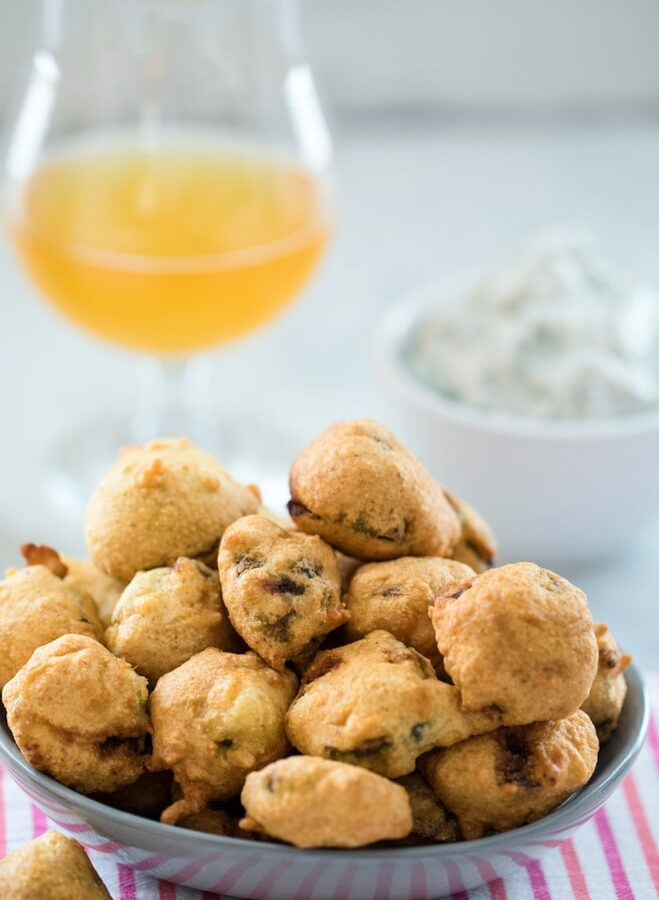 Beer Batter Fried Brussels Sprouts -- No matter your feelings on brussels sprouts, it's impossible not to love these Beer Batter Fried Brussels Sprouts. Served with a blue cheese yogurt dip, you won't be able to stop eating these sprouts | wearenotmartha.com