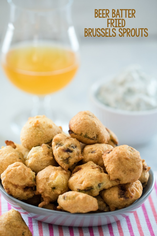 Beer Batter Fried Brussels Sprouts -- No matter your feelings on brussels sprouts, it's impossible not to love these Beer Batter Fried Brussels Sprouts. Served with a blue cheese yogurt dip, you won't be able to stop eating these sprouts   wearenotmartha.com