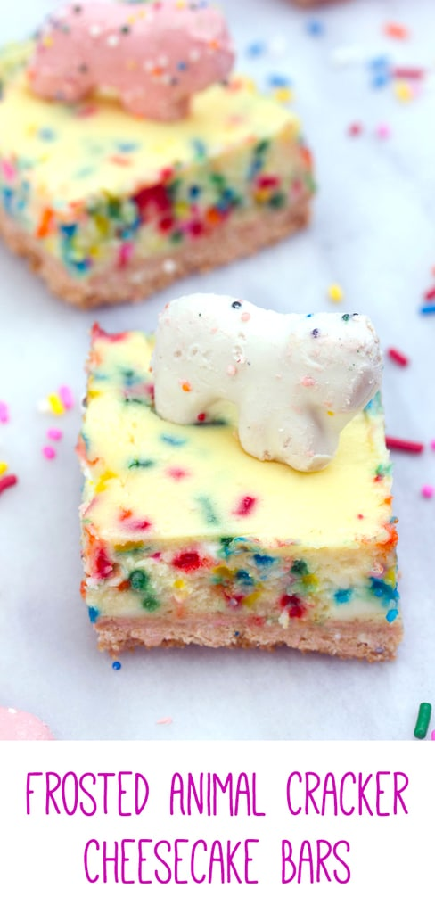 Frosted Animal Cracker Cheesecake Bars -- These Frosted Animal Cracker Cheesecake Bars consist of funfetti cheesecake with a circus animal cookie crust. Basically, your childhood in cheesecake form! | wearenotmartha.com #cheesecake #cheesecakebars #animalcrackers #funfetti
