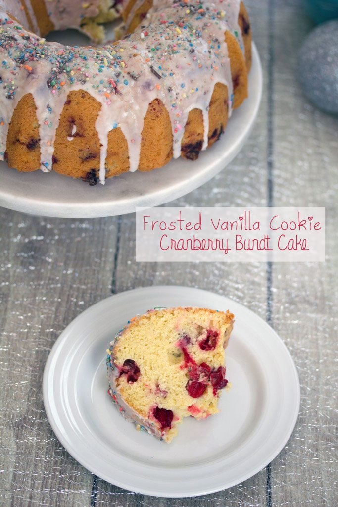 Frosted Vanilla  Cookie Cranberry Bundt Cake -- A classic holiday cake with a sweet twist | wearenotmartha.com