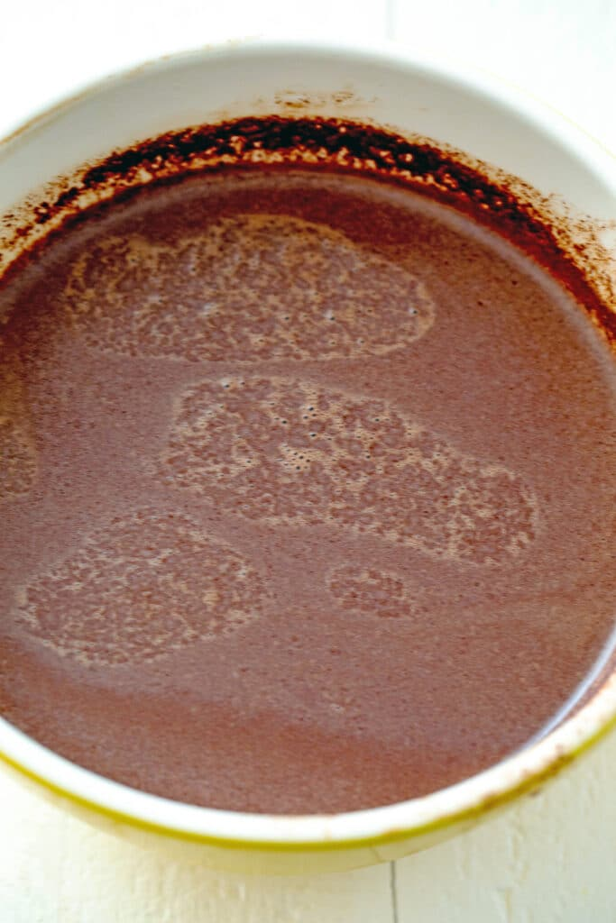 Hot chocolate mixture in bowl