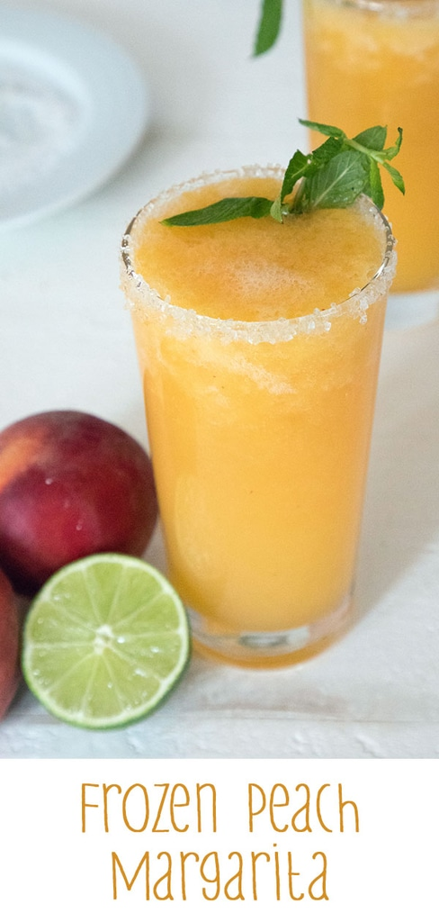 Frozen Peach Margarita -- This margarita  is made with fresh peaches and sweetened with honey... No peach schnapps necessary! The perfect summer margarita looks like sunshine in a glass | wearenotmartha.com