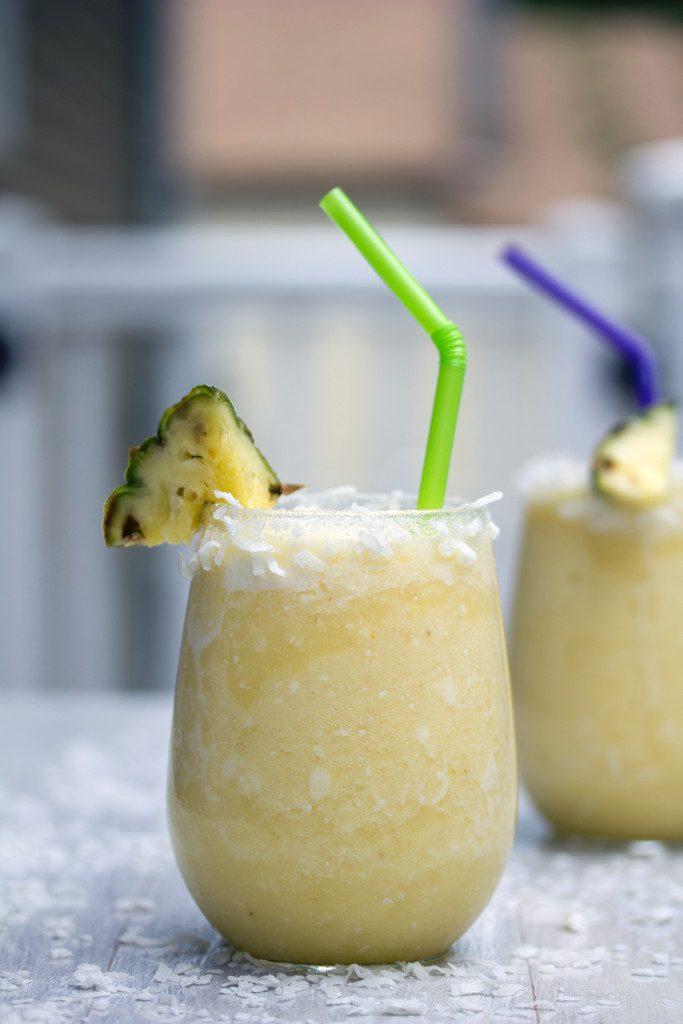 Frozen Pineapple Coconut Margarita -- A frosty summer cocktail with tequila | wearenotmartha.com