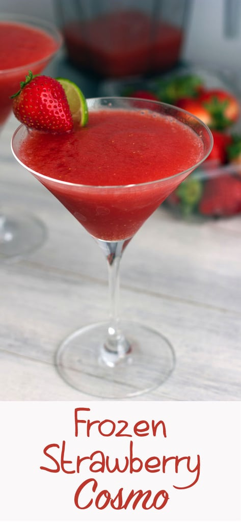 Frozen Strawberry Cosmo -- Remember the cosmo? It's back! But this time the cranberry and lime are combined with frozen strawberries for an icy frozen strawberry cosmopolitan treat | wearenotmartha.com #cocktail #strawberries #cosmo #cosmopolitan #vodka