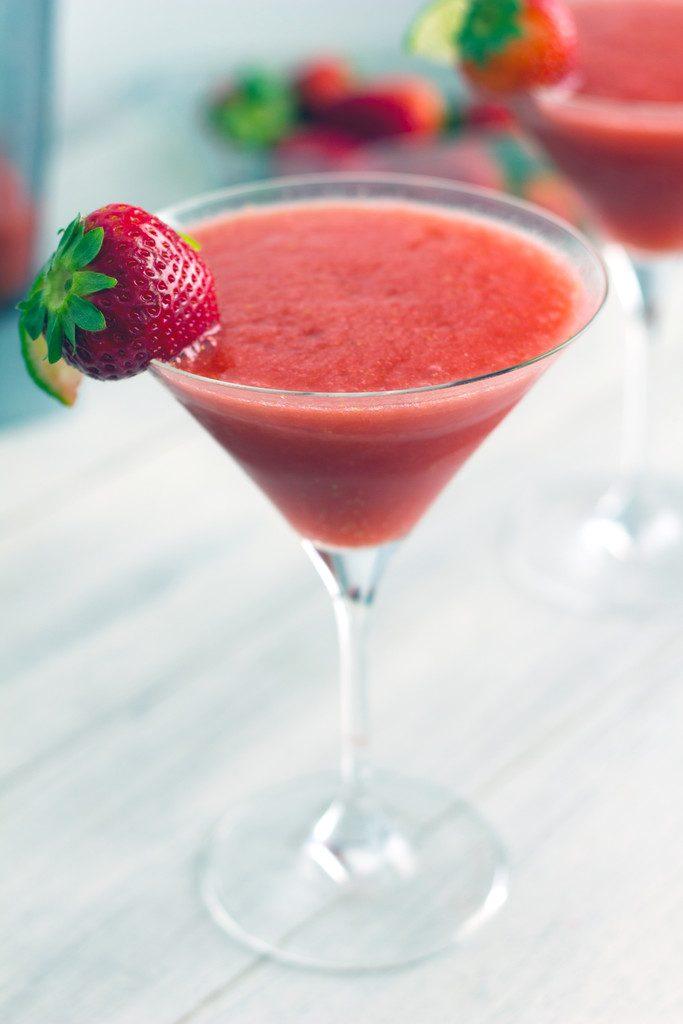 Frozen Strawberry Cosmo -- A refreshing summer cocktail | wearenotmartha.com