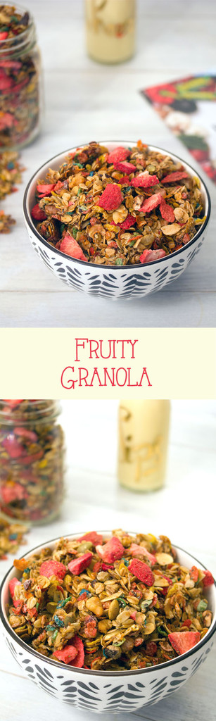 Fruity Granola with Fruity Pebbles and Freeze-Dried Strawberries