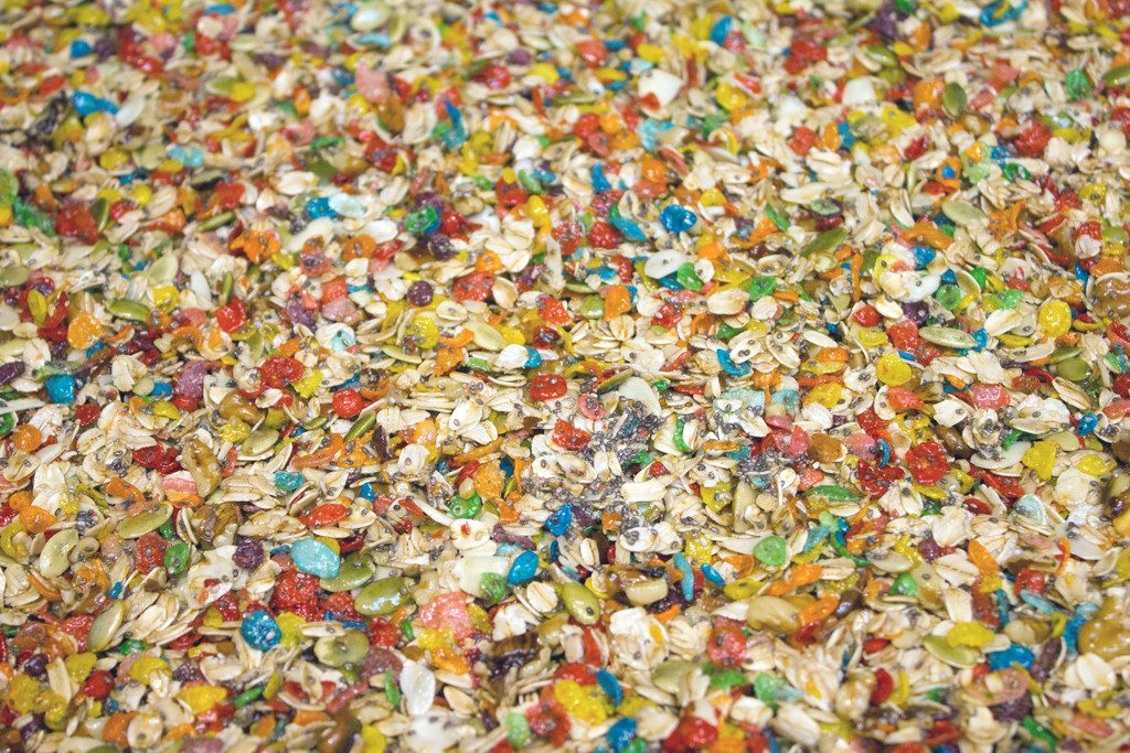 Fruity Granola -- This granola made with Fruity Pebbles and freeze-dried strawberries makes the perfect hostess gift!   wearenotmartha.com