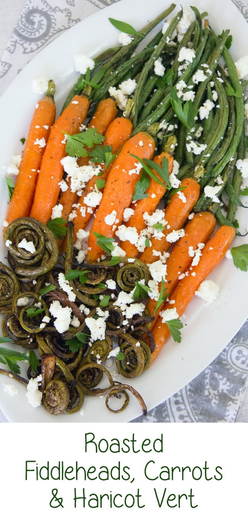 Roasted Fiddleheads, Carrots, and Haricot Vert -- It's time to get fancy with your summer vegetables! This side dish combines roasted fiddleheads, heirloom carrots, and haricot vert with feta cheese and fresh parsley | wearenotmartha.com #fiddleheads #haricotvert #summervegetables #roastedvegetables
