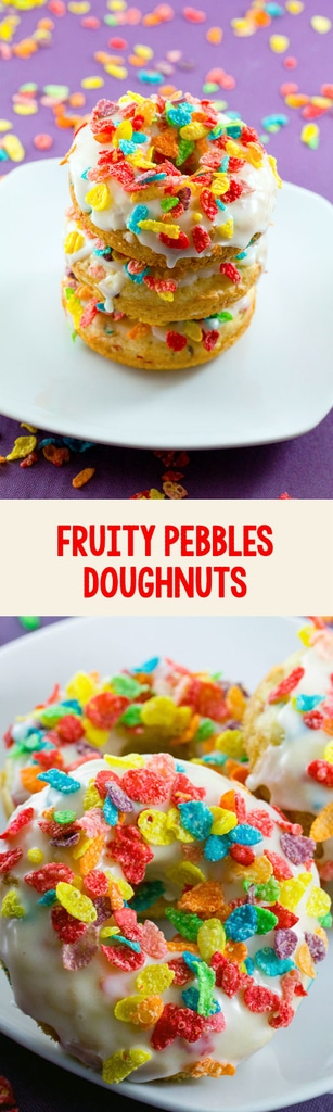 Fruity Pebbles Doughnuts -- These doughnuts are the stuff your childhood dreams were made of! But will you enjoy these baked doughnuts topped with sugary cereal for breakfast... Or save them for dessert? | wearenotmartha.com #fruitypebbles #doughnuts #donuts #cereal