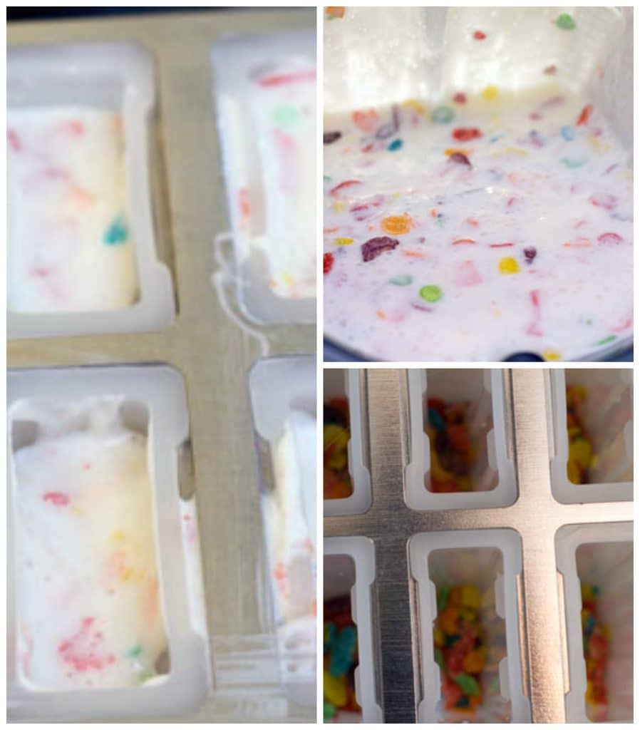 Collage showing Greek yogurt, milk, and Fruity Pebbles combined in blender, Fruity Pebbles in the bottom of popsicle molds, and popsicle molds filled