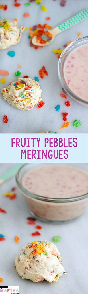Fruity Pebbles Meringues -- Perfect little colorful clouds that are super easy to make! | wearenotmartha.com