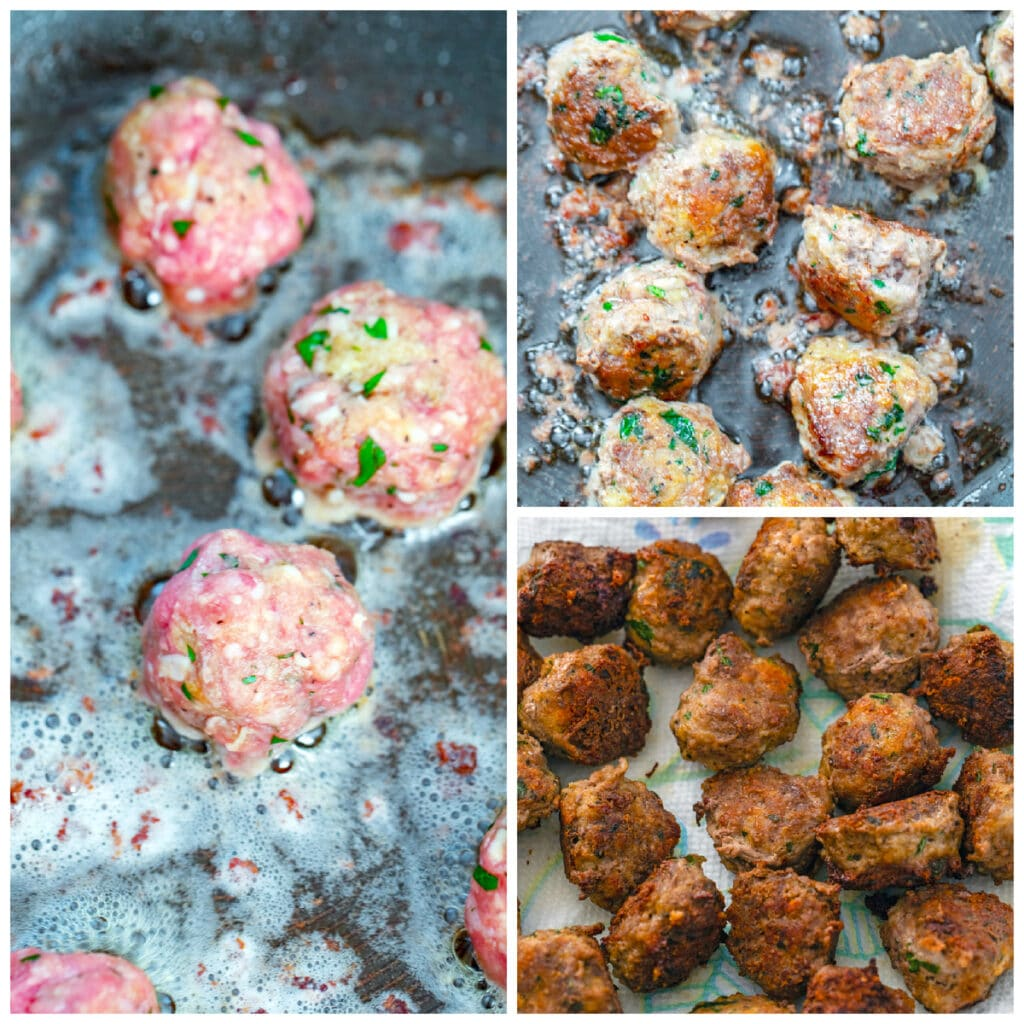 Collage showing process for frying up meatballs, including meatballs placed in frying pan with oil, meatballs fried in pan, and cooked meatballs sitting on paper towels