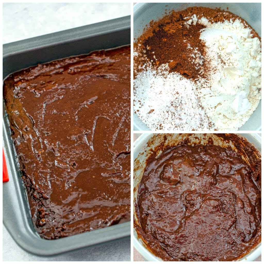Collage showing process for making fudgy brownies, including dry ingredients in bowl, batter in bowl, and batter spread into pan