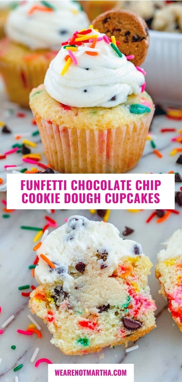 Funfetti Chocolate Chip Cookie Dough Cupcakes