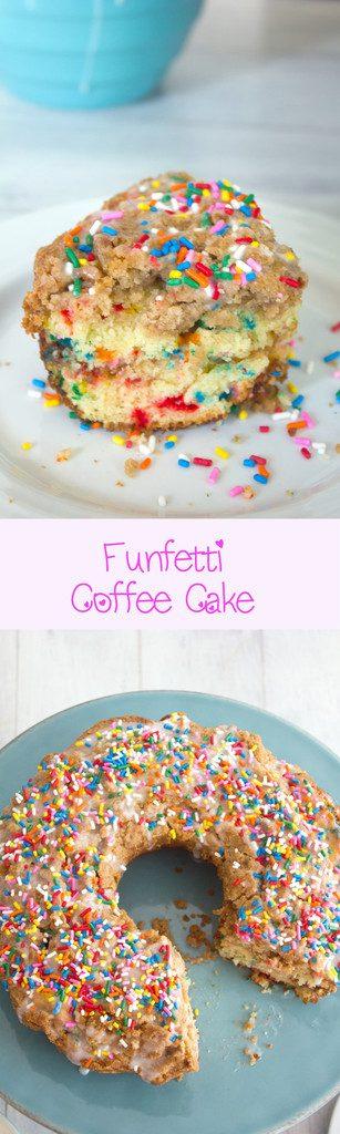 Funfetti Coffee Cake -- A buttery cinnamon sugar breakfast cake with lots of rainbow sprinkles   wearenotmartha.com