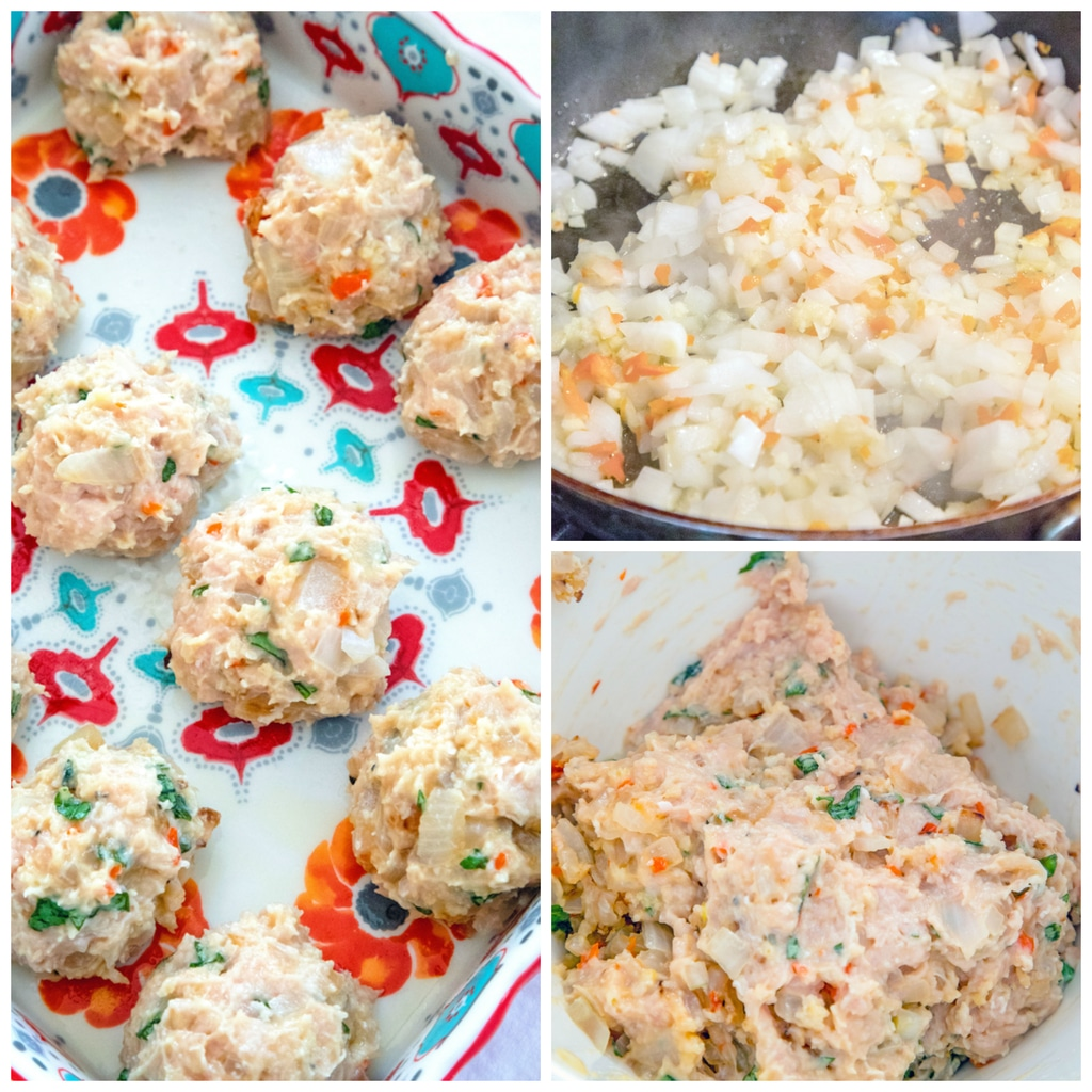 Collage showing process for making garlic habanero chicken meatballs, including onions, garlic, and habanero in a pan, all chicken meatball ingredients combined in bowl, and mixture formed into meatballs in baking pan