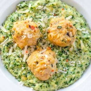 Garlic Habanero Chicken Meatballs with Kale Polenta -- Garlic Habanero Chicken Meatballs with Kale Polenta is comfort food that's packed with flavor, but still nice and healthy. It's the perfect chilly weather meal! | wearenotmartha.com