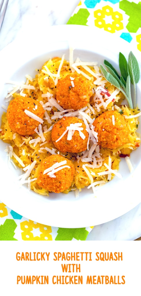 Garlicky Spaghetti Squash with Pumpkin Chicken Meatballs -- Garlicky Spaghetti Squash with Pumpkin Chicken Meatballs is a deliciously healthy fall or winter meal that is so quick and easy to make! | wearenotmartha.com #spaghettisquash #squash #pumpkin #meatballs