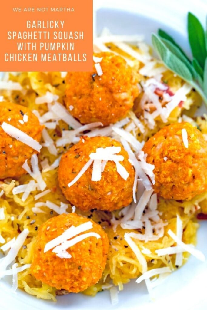 These pumpkin meatballs are made with ground chicken and set over a bed of garlicky spaghetti squash for an easy-to-make healthy dinner | wearenotmartha.com #pumpkinrecipes #chickenmeatballs #meatballs #chickenrecipes #spaghettisquash