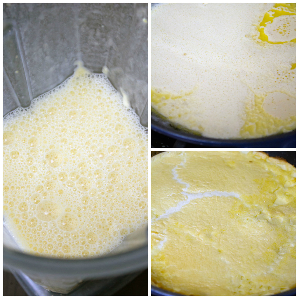Collage showing process for making German pancakes, including combining ingredients together in a blender, pouring batter into a hot skillet and baking pancake in oven