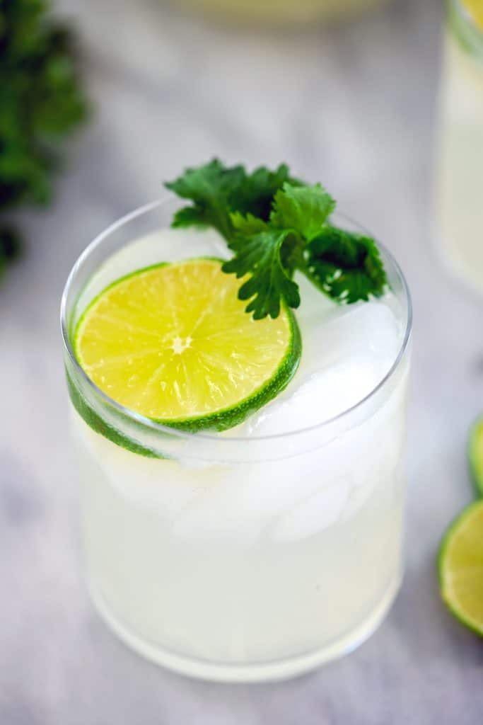 Overhead close-up of gin lime rickey cocktail with lime round and cilantro