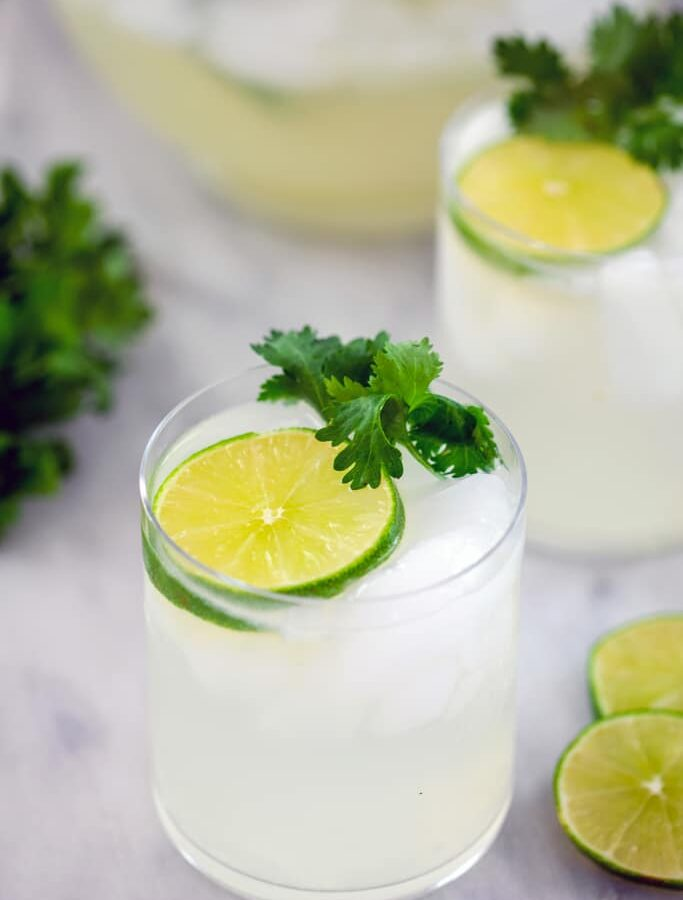 Gin Lime Rickeys with Cilantro -- If you're dreaming of a deliciously summery cocktail that features fresh limeade and gin, you need to make these Gin Lime Rickeys with Cilantro | wearenotmartha.com