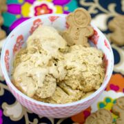 Triple Gingerbread Ice Cream -- This Gingerbread Ice Cream has three types of ginger in it: fresh ginger, ground ginger, and gingerbread cookies. It's perfect for the holidays, but is delicious all winter long | wearenotmartha.com