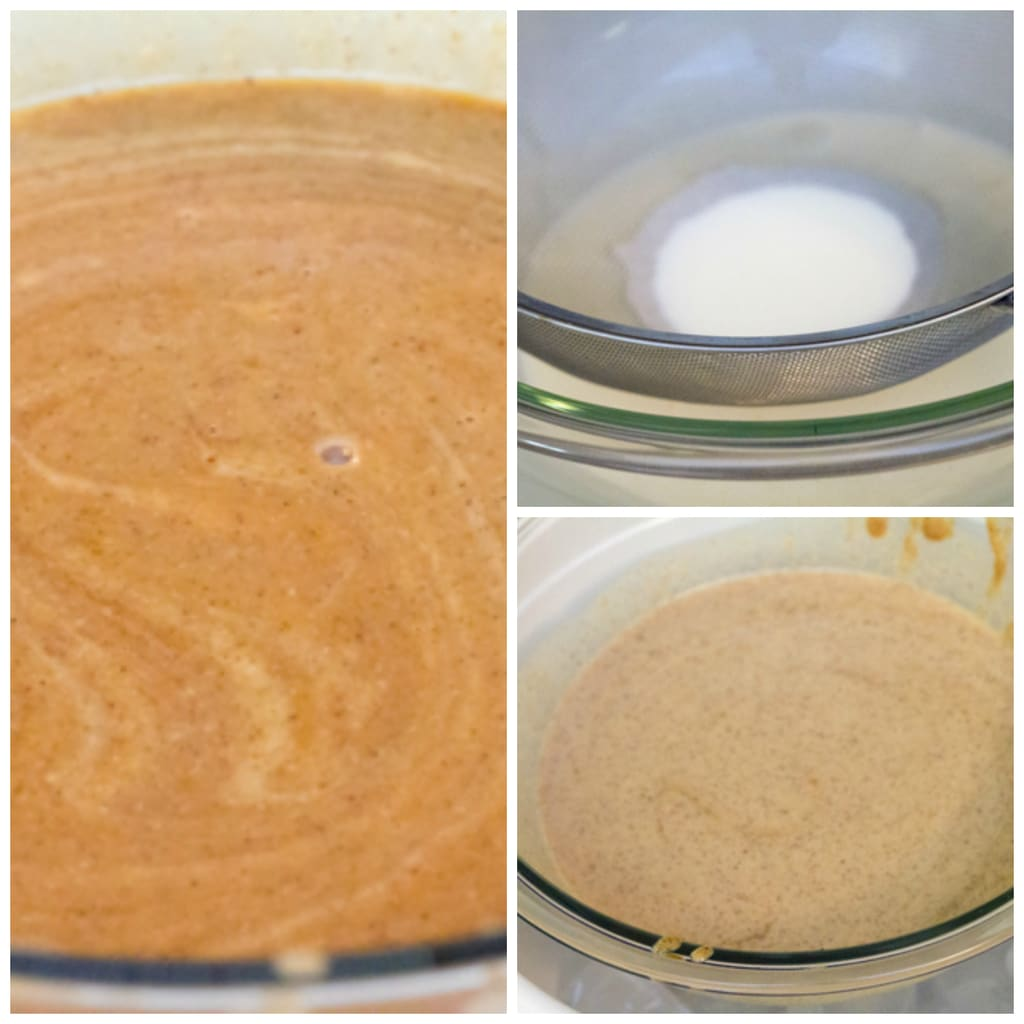 Collage showing process for making ice bath and chilling gingerbread ice cream