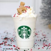 Gingerbread Puppuccinos with Gingerbread Cookies for Dogs -- Looking for a special holiday treat for your favorite dog? These Gingerbread Puppuccinos will give your dog something fun to sip on while you're enjoying all those holiday cocktails | wearenotmartha.com