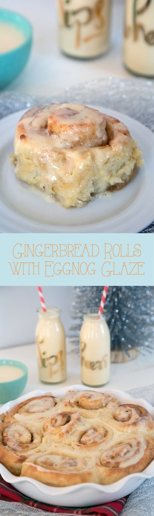 Gingerbread Rolls with Eggnog Glaze -- These rolls take the classic cinnamon roll and give it a holiday spin. With the zing of ginger and sweet eggnog flavor, they make the perfect Christmas breakfast | wearenotmartha.com