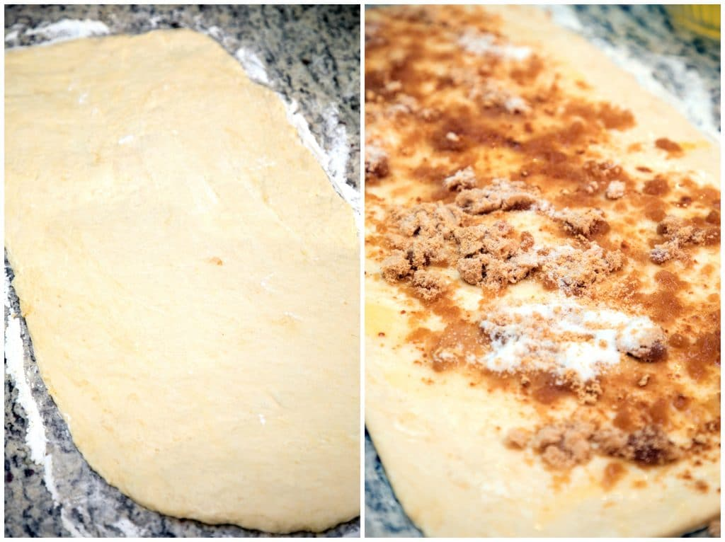 Collage showing dough rolled out into rectangle and butter, sugar, and ginger smeared on dough