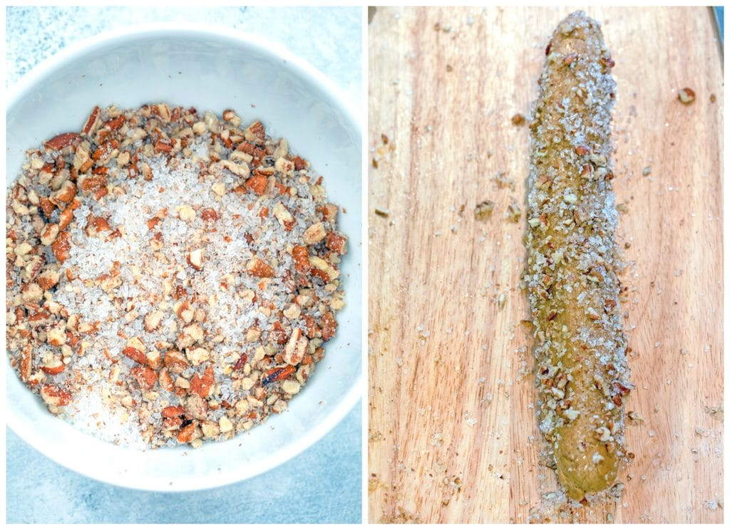 Collage showing a bowl of decorative sugar and crushed pecans and a dough log on a cutting board coated in sugar and pecan mixture