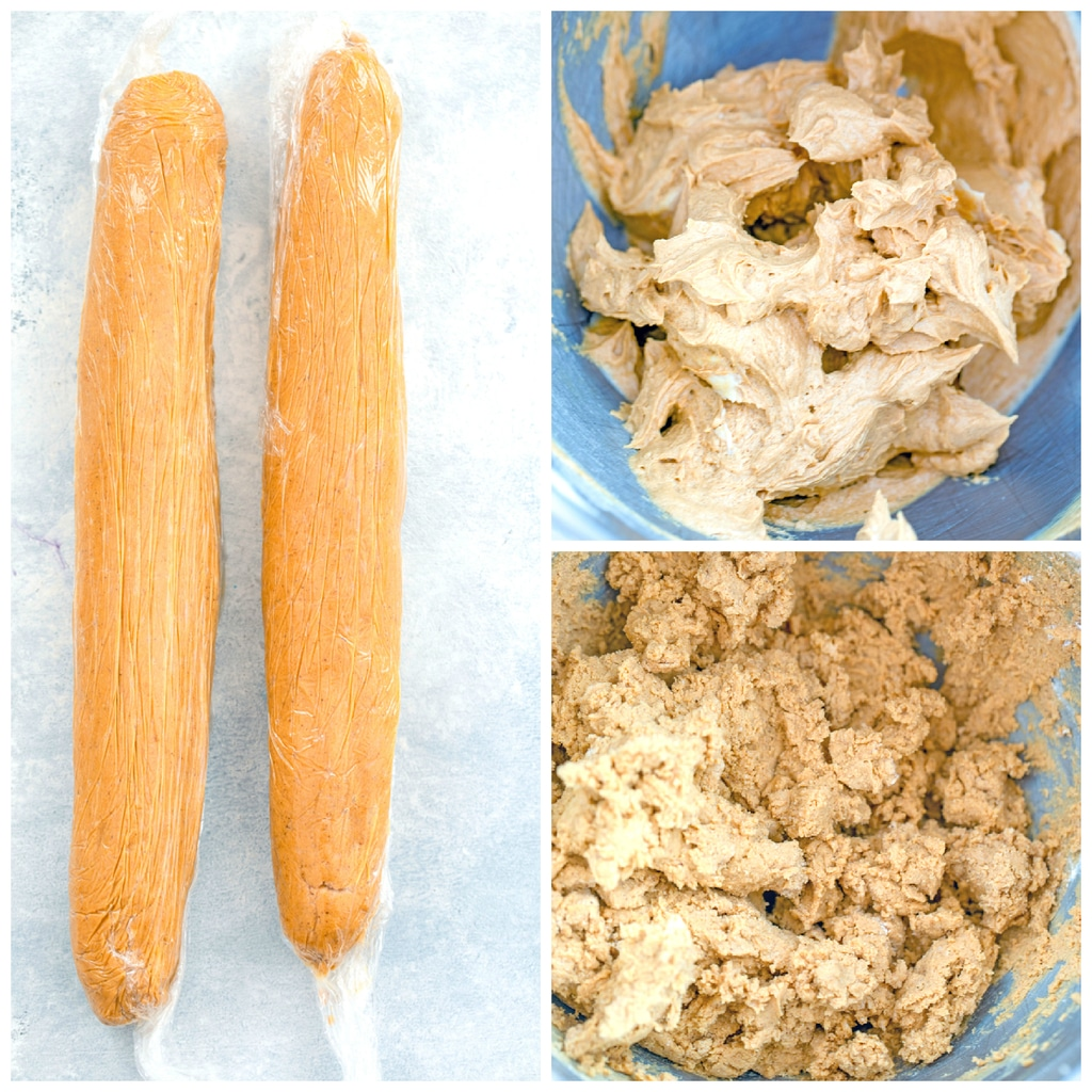Collage showing process for making gingerbread shortbread cookies, including a photo of butter mixed with sugar and molasses, a photo of batter mixed together, and a photo of batter formed into two logs wrapped in plastic wrap