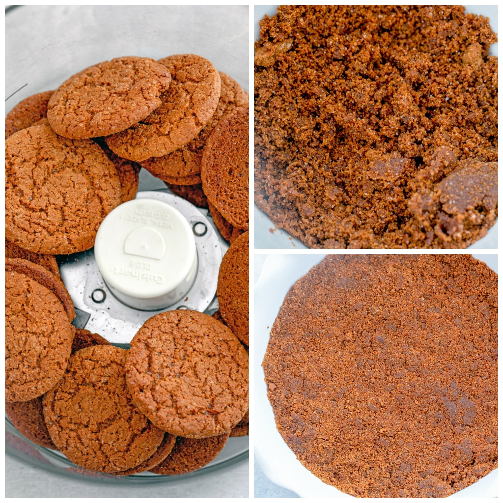Collage showing process for making gingersnap crust, including gingersnaps in food processor, gingersnap crumbs mixed with butter and sugar, and gingersnap crumbs pressed into the bottom of a pie plate for crust.