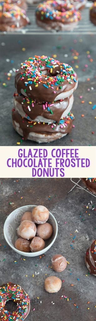 Glazed Coffee Chocolate Frosted Donuts -- If you're going to fry donuts, you may as well go all out and make glazed chocolate frosted donuts. And make them coffee flavored for good measure!   wearenotmartha.com