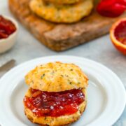 Goat Cheese Chive Biscuits with Blood Orange Habanero Marmalade -- These Goat Cheese Chive Biscuits with Blood Orange Habanero Marmalade are the perfect combination and so delicious, you'll want to make a meal of them! | wearenotmartha.com