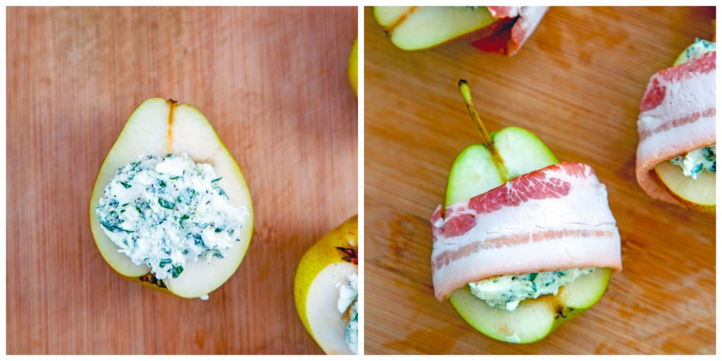 Collage showing process for making roasted pears with goat cheese wrapped in bacon, including overhead view of a pear half stuffed with herbed goat cheese and an overhead view of pears stuffed with goat cheese wrapped in bacon