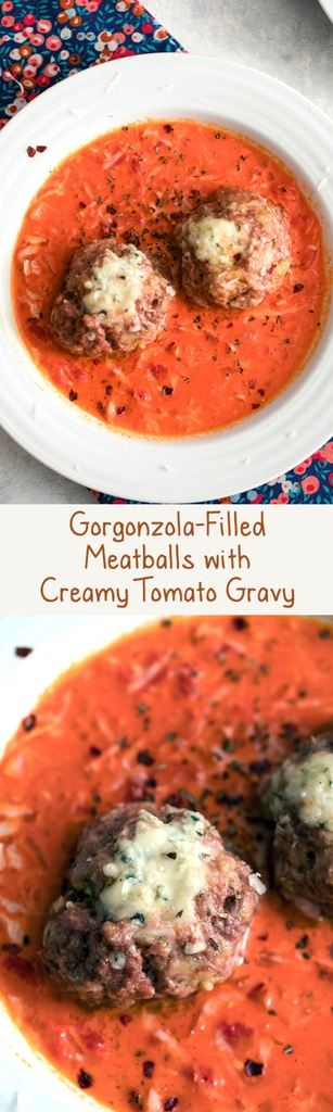 Gorgonzola Meatballs with Creamy Tomato Gravy -- These may just be the most perfect meatballs in the world. Served over a creamy tomato gravy, the only thing missing is a side salad or a loaf of garlic bread | wearenotmartha.com