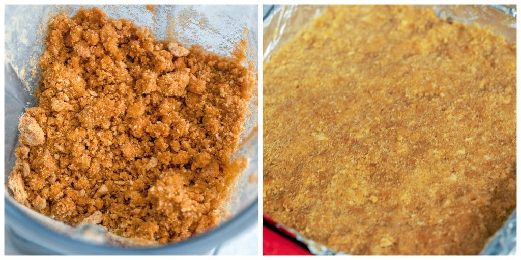 Collage showing process for making graham cracker crust, including graham cracker crumbs, sugar, and butter in a blender and mixture pressed into the bottom of a pan