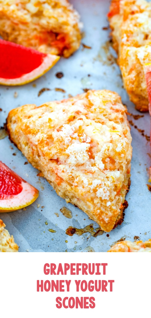 Grapefruit Honey Yogurt Scones -- Think scones are dry and boring? These sweet and tart Grapefruit Honey Yogurt Scones will prove that theory wrong! Enjoy them for breakfast, dessert, or as a snack with a cup of tea | wearenotmartha.com #scones #grapefruit