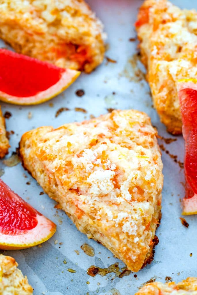 Overhead view of grapefruit scones on a baking sheet surrounded by pink grapefruit segments