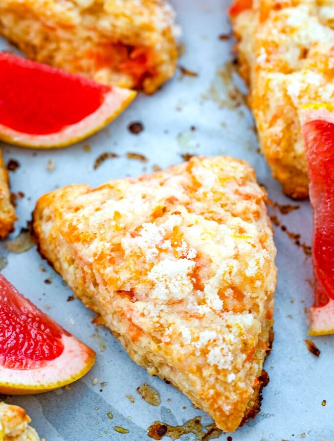 Grapefruit Honey Yogurt Scones -- Think scones are dry and boring? These sweet and tart Grapefruit Honey Yogurt Scones will prove that theory wrong! Enjoy them for breakfast, dessert, or as a snack with a cup of tea | wearenotmartha.com